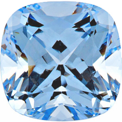 Faceted Imitation Aquamarine Stone, Antique Square Shape, 10.00 mm in Size