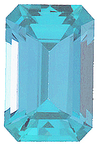 Faceted Imitation Blue Zircon Gemstone, Emerald Shape, 8.00 x 6.00 mm in Size