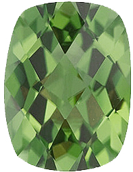 Faceted Imitation Peridot Gem, Antique Cushion Shape, 8.00 x 6.00 mm in Size