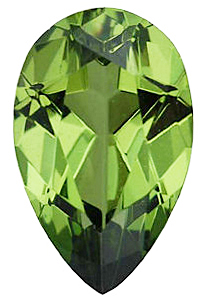 Faceted Imitation Peridot Gem, Pear Shape, 6.00 x 4.00 mm in Size