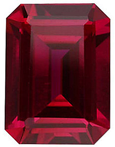 Faceted Imitation Ruby Stone, Emerald Shape, 7.00 x 5.00 mm in Size