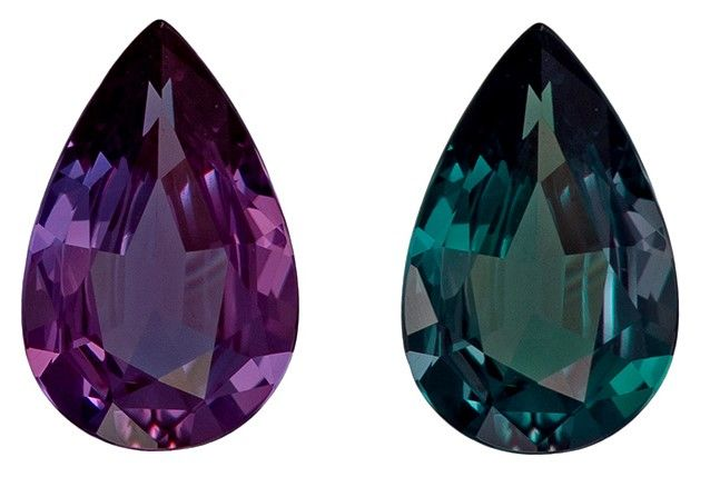 Faceted Loose 0.37 carats Alexandrite Loose Gemstone in Pear Cut, Medium Teal to Vivid Eggplant, 6.4 x 4.1 mm
