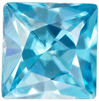Faceted Loose 0.95 carats Zircon Loose Gemstone in Princess Cut, Teal Blue, 4.9 x 4.8 mm