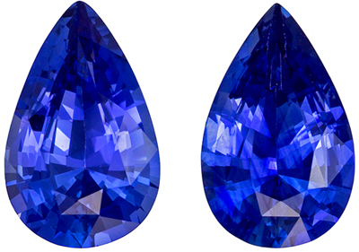 Faceted Loose 1.83 carats Sapphire Genuine Gemstone Pair in Pear Cut, Rich Blue, 8 x 5 mm