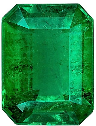 Rare Gem in 2.84 carat Emerald Gemstone, Vivid Green Crystal in Emerald shape, 9.9 x 7.5  mm