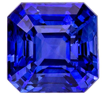 Faceted Loose 3.06 carats Sapphire Loose Gemstone in Emerald Cut, Intense Blue, 7.4 x 7.3 mm