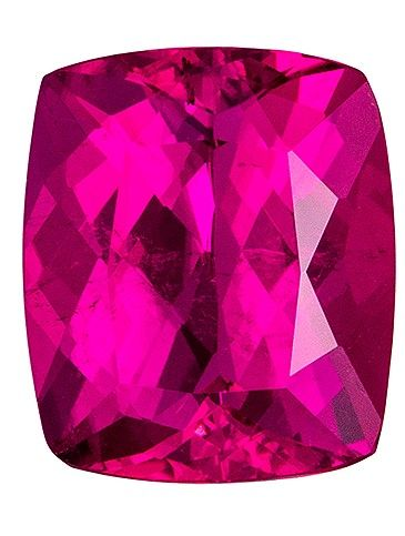 Faceted Loose 3.21 carats Tourmaline Loose Gemstone in Cushion Cut, Rich Fuchsia, 9.8 x 8.3 mm