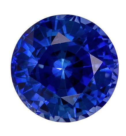 Faceted Loose 5.6 mm Sapphire Genuine Gemstone in Round Cut, Vivid Blue, 0.95 carats