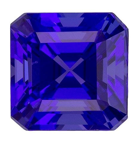 Faceted Loose 5.9 mm Tanzanite Loose Genuine Gemstone in Square Cut, Blue Purple, 1.36 carats