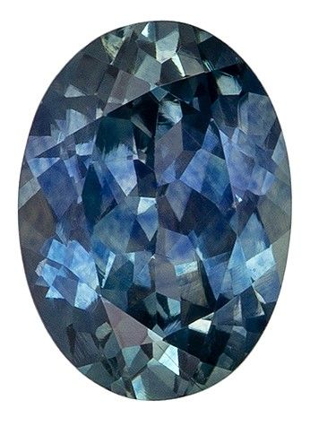 Faceted Loose 7.2 x 5.2 mm Sapphire Loose Gemstone in Oval Cut, Medium Blue Green, 1.14 carats