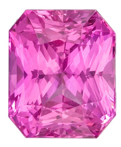 Faceted Loose 7.3 x 6.1 mm Sapphire Loose Genuine Gemstone in Radiant Cut, Intense Pink, 2.08 carats