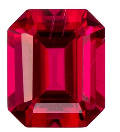 Faceted Loose 7.4 x 6.1 mm Tourmaline Loose Genuine Gemstone in Emerald Cut, Fuchsia Red, 1.51 carats