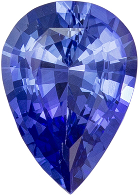 Faceted Loose 7 x 5 mm Sapphire Loose Genuine Gemstone in Pear Cut, Medium Blue, 0.68 carats