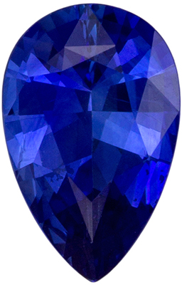 Faceted Loose 8 x 5.1 mm Sapphire Loose Gemstone in Pear Cut, Medium Blue, 0.89 carats