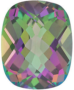 Faceted Mystic Green Topaz Stone, Antique Cushion Shape, Grade AAA, 9.00 x 7.00 mm in Size, 2.5 Carats