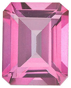 Faceted Mystic Pink Topaz Stone, Emerald Shape, Grade AAA, 9.00 x 7.00 mm in Size, 3 Carats