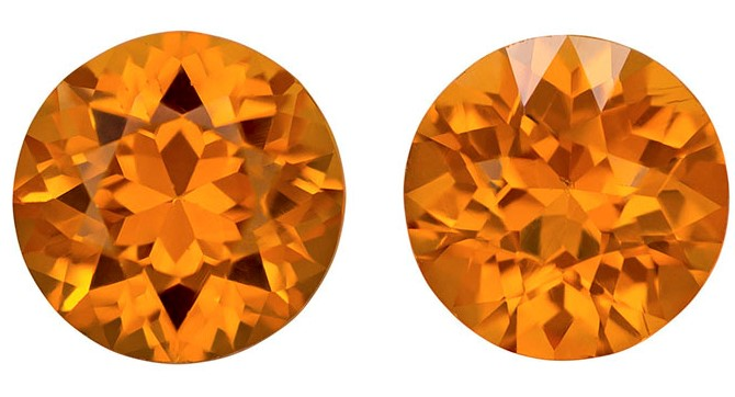 Faceted Orange Spessartite Gemstones, Round Cut, 1.93 carats, 6 mm Matching Pair, AfricaGems Certified - Great for Studs