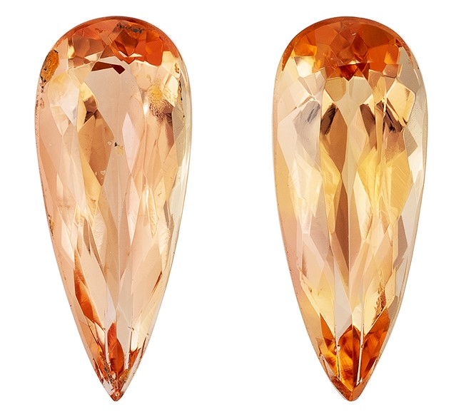 Faceted Imperial Topaz Gemstones, Pear Cut, 2.29 carats, 10.8 x 4.3 mm Matching Pair, AfricaGems Certified - A Great Buy