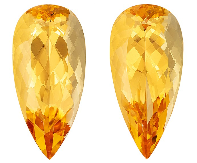 Faceted Precious Topaz Gemstones, Pear Cut, 14.09 carats, 18.7 x 8.8 mm Matching Pair, AfricaGems Certified - A Great Deal