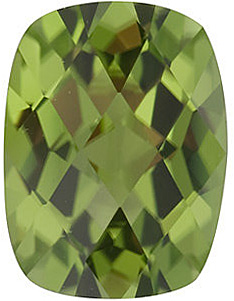 Faceted Peridot Stone, Antique Cushion Checkerboard Shape, Grade AAA, 8.00 x 6.00 mm in Size, 1.45 Carats