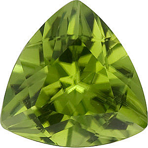 Faceted Peridot Stone, Trillion Shape, Grade AA, 6.00mm in Size, 0.85 Carats