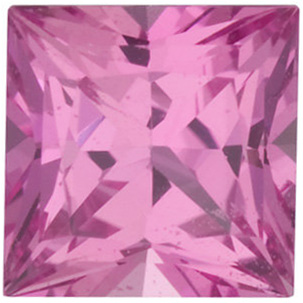 Faceted Pink Sapphire Gem, Princess Shape, Grade AA, 3.50 mm in Size, 0.31 Carats