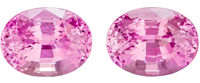 Faceted Pink Sapphire Gemstone Pair, 2.38 carats, Oval Cut, 6.8 x 5.2 mm, Beauty of a Gems