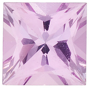 Faceted Pink Sapphire Gemstone, Princess Shape, Grade A, 2.75 mm in Size, 0.15 Carats