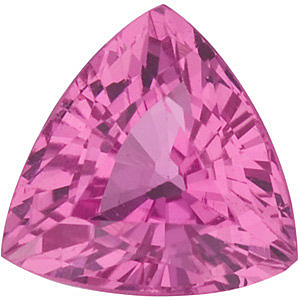 Faceted Pink Sapphire Gemstone, Trillion Shape, Grade AA, 6.50 mm in Size, 1.35 Carats