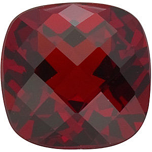 Faceted Red Garnet Gemstone, Antique Square Shape Checkerboard, Grade AAA, 5.00 mm in Size, 0.75 carats