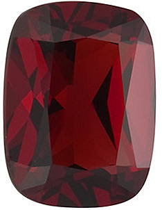 Faceted Red Garnet Stone, Antique Cushion Shape, Grade AAA, 12.00 x 10.00 mm in Size, 6.65 carats