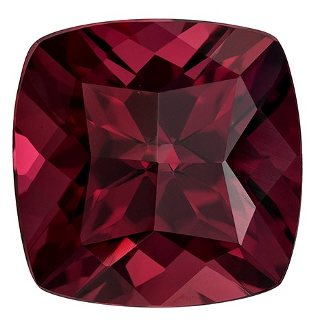 Faceted Rich Rhodolite Gemstone, Cushion Cut, 6.18 carats, 10 mm , AfricaGems Certified - A Fine Gem