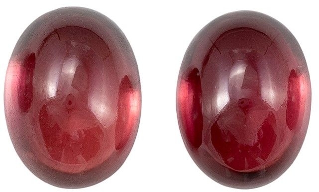 Faceted Rich Rhodolite Gemstones, Cabochon Cut, 4.01 carats, 8 x 6 mm Matching Pair, AfricaGems Certified - A Wonderful Find