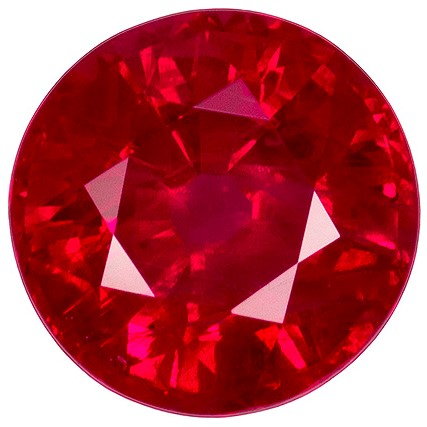 Faceted Fiery Ruby Gemstone, Round Cut, 1.85 carats, 7.04 x 7.15 x 4.49 mm , GIA Certified - A Deal