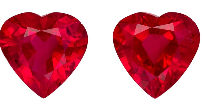 Faceted Fiery Ruby Gemstones, Heart Cut, 0.92 carats, 5 x 5 mm Matching Pair, AfricaGems Certified - Great for Studs