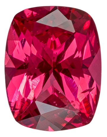 Faceted Pinkish Red Spinel Gemstone, Cushion Cut, 0.86 carats, 6.8 x 5.3 mm , AfricaGems Certified - A Hard to Find Gem
