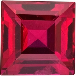 Faceted Ruby Gem, Step Shape, Grade AA, 1.25 mm in Size, 0.03 Carats