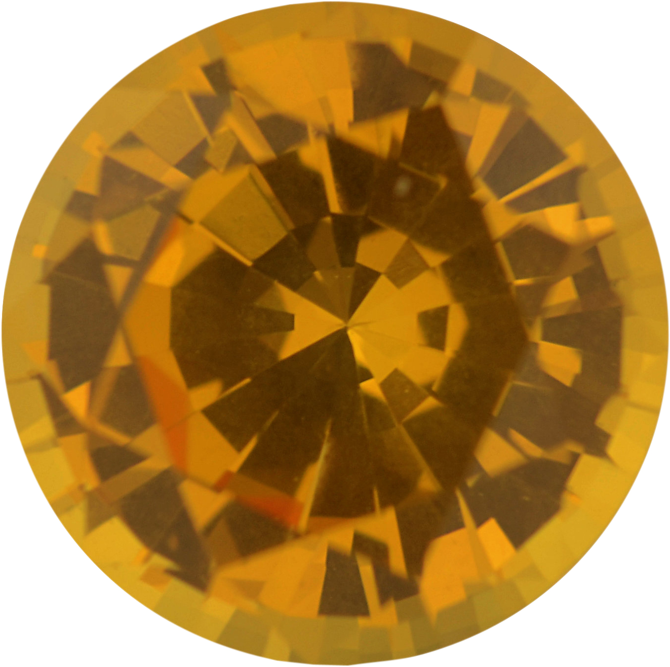 Faceted Sapphire Loose Gem in Round Cut, Vibrant Orangy Yellow, 6.4 mm, 1.23 Carats
