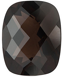 Faceted Smokey Quartz Stone, Emerald Shape Checkerboard, Grade AAA, 14.00 x 12.00 mm in Size, 8.5 Carats
