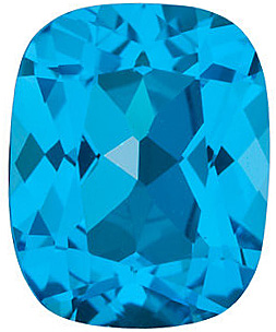 Faceted Swiss Blue Topaz Stone, Antique Cushion Shape, Grade AAA, 12.00 x 10.00 mm in Size, 6.6 Carats