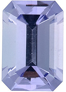 Faceted Tanzanite Stone, Emerald Shape, Grade A, 7.00 x 5.00 mm in Size, 1 Carats