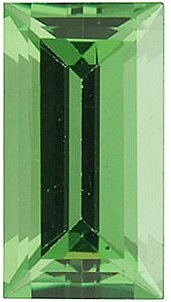 Faceted Tsavorite Garnet Gemstone, Baguette Shape, Grade AA, 6.00 x 3.00 mm in Size, 0.4 carats