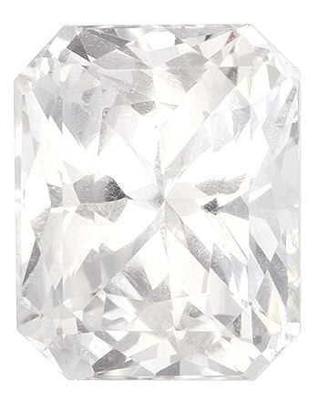 Faceted White Sapphire Gemstone, Radiant Cut, 1.69 carats, 7.07 x 5.7 x 4.39 mm , GIA Certified - A Great Buy