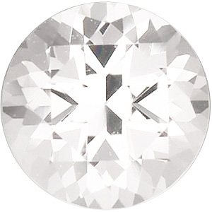 Faceted White Topaz Gemstone, Round Shape, Grade AAA, 5.50 mm in Size