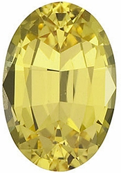 Faceted Yellow Sapphire Gem, Oval Shape, Grade AA, 8.00 x 6.00 mm in Size, 1.71 Carats