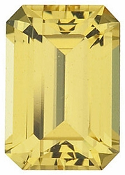 Faceted Yellow Sapphire Stone, Emerald Shape, Grade AA, 5.00 x 4.00 mm in Size, 0.5 Carats