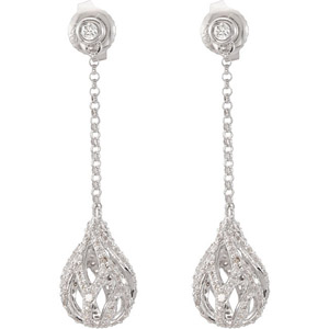Fancy 1 carat Post Back Dangling 14k White Gold Earrings with Briolette Shaped Diamond Studded Charm