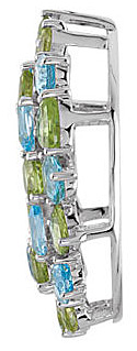 Fancy 15.72ct Wreath Style Pendant or Brooch With 19 Peridot and Swiss Blue Topaz Gems in Sterling Silver - FREE Chain With Pendant