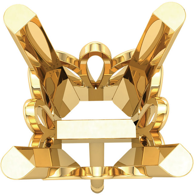 Fancy 4-Prong Basket Earrings Mounting for Princess Shape Centergem Sized 4.00 mm to 8.00 mm - Customize Metal or Gem Type