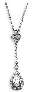 Fancy Created 1ct 6x4mm Moissanite Drop Style Pendant in 14k White Gold With 1/2 cts of Diamond Accents
